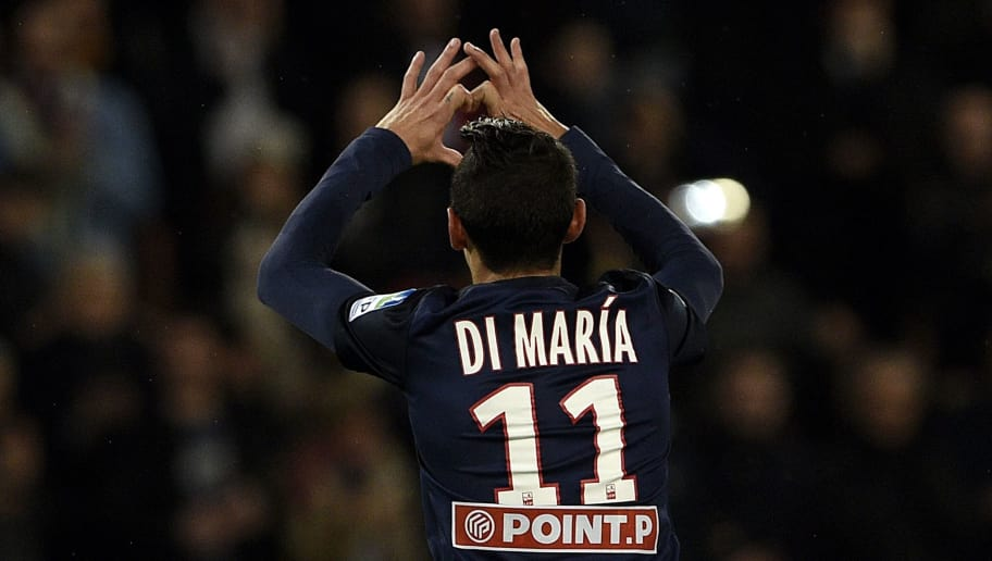 Paris Saint-Germain's Argentinian forward Angel Di Maria celebrates after scoring a goal during the French League Cup football match between Paris Saint-Germain (PSG) and Toulouse at the Parc des Princes stadium in Paris on January 27, 2016. / AFP / FRANCK FIFE        (Photo credit should read FRANCK FIFE/AFP/Getty Images)