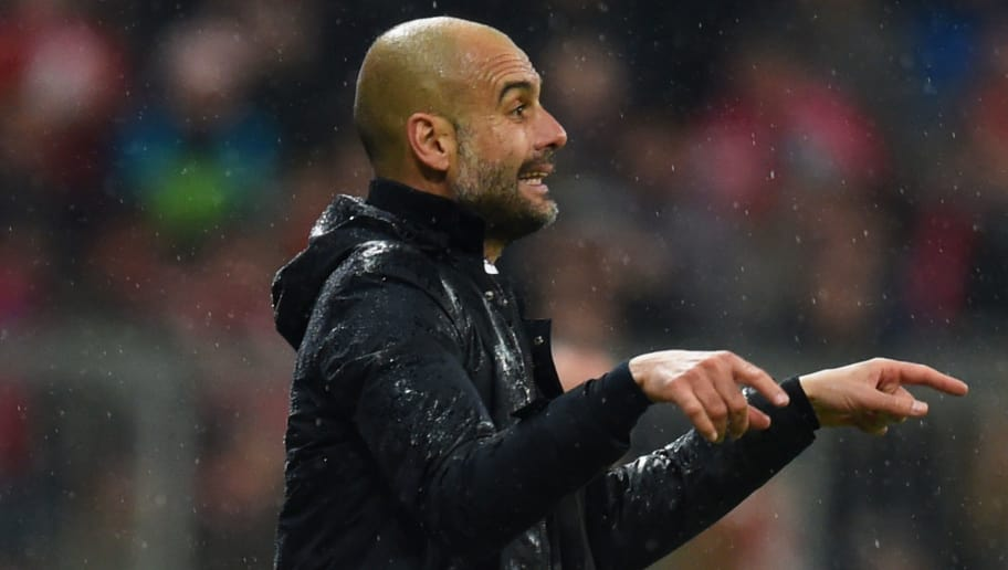 MUNICH, GERMANY - JANUARY 31:  Josep Guardiola manager of Bayern Munich gestures during the Bundesliga match between FC Bayern Muenchen and 1899 Hoffenheim at Allianz Arena on January 31, 2016 in Munich, Germany.  (Photo by Matthias Hangst/Bongarts/Getty Images)