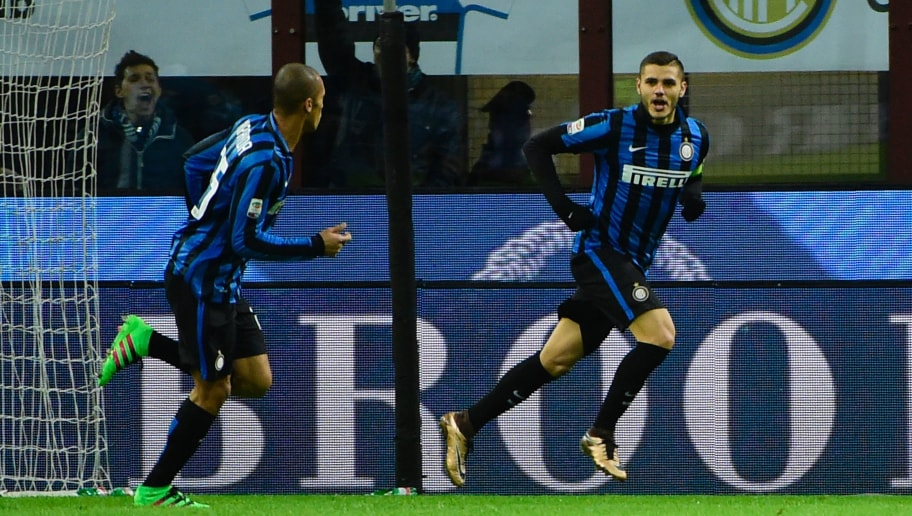 45c687d9b Inter Milan s forward from Argentina Mauro Icardi (R) celebrates after  scoring during the Italian
