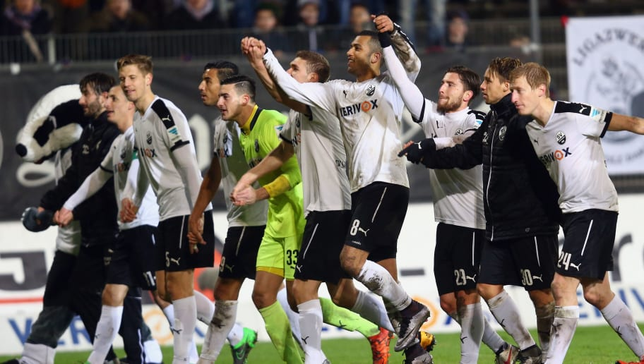 SANDHAUSEN, GERMANY - FEBRUARY 05:  Players of Sandhausen celebrate after the Second Bundesliga match between SV Sandhausen and SC Paderborn at Hardtwaldstadion on February 5, 2016 in Sandhausen, Germany.  (Photo by Alex Grimm/Bongarts/Getty Images)