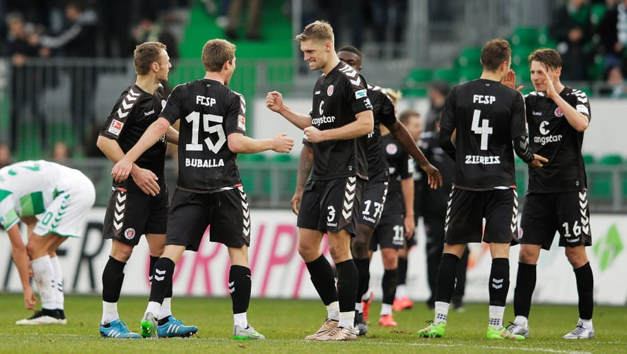 FUERTH, GERMANY - FEBRUARY 07:  Lasse Sobiech of St Pauli celebrates victory afterthe 2. Bundesliga match between Greuther Fuerth and FC St. Pauli at Stadion am Laubenweg on February 7, 2016 in Fuerth, Germany.  (Photo by Adam Pretty/Bongarts/Getty Images)