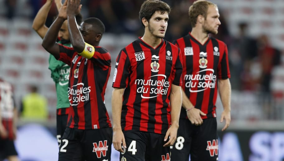 Nice's French midfielder Paulin Puel (C) reacts at the end of the French L1 football match Nice (OGC Nice) vs Guingamp (EAG) on September 12, 2015 at the 'Allianz Riviera' stadium in Nice, southeastern France.  AFP PHOTO / VALERY HACHE        (Photo credit should read VALERY HACHE/AFP/Getty Images)