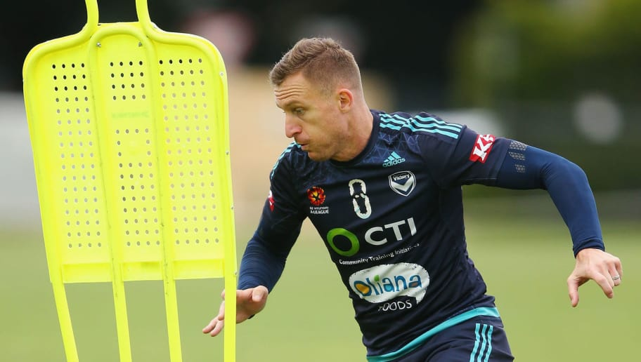 MELBOURNE, AUSTRALIA - FEBRUARY 17:  Besart Berisha of the Victory controls the ball during a Melbourne Victory A-League training session at Gosch's Paddock on February 17, 2016 in Melbourne, Australia.  (Photo by Michael Dodge/Getty Images)