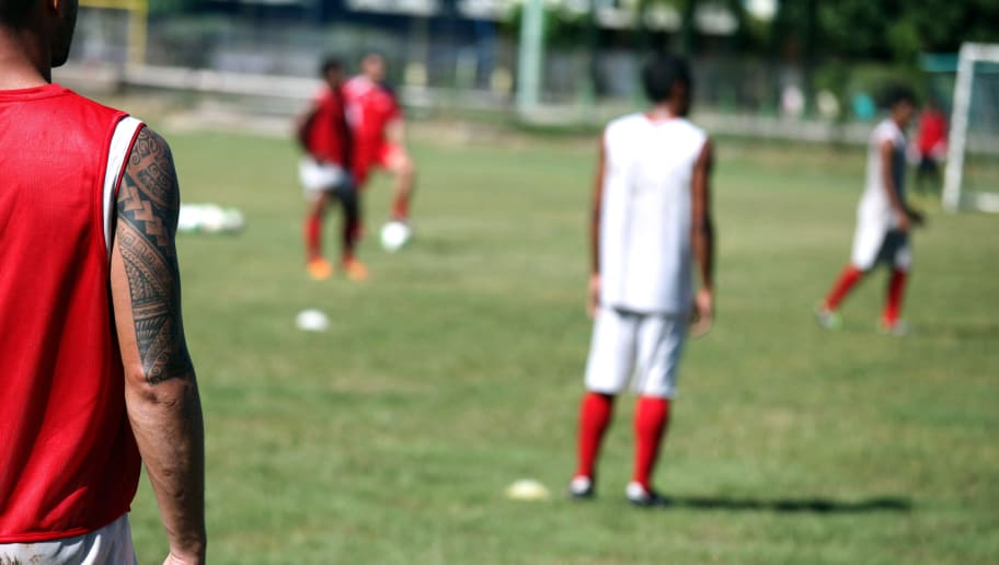 Players of the football amateur team, aka the 'Toa Aito', of French Polynesian island Tahiti, take part in a training session on May 24, 2013 in Papeete on the French Polynesian island, ahead of a preparation stage in Chile for the 2013 Confederations Cup in Brazil next June. The first of three major international sporting events in Brazil begins next month, with football's Confederations Cup pitting three former world champions, including the hosts, Brazil, against the current title holders, Spain, and outsiders Mexico, Nigeria, Japan and tiny Tahiti. AFP PHOTO GREGORY BOISSY        (Photo credit should read GREGORY BOISSY/AFP/Getty Images)