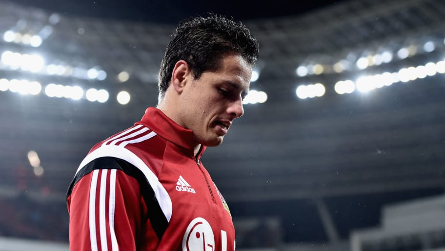 LEVERKUSEN, GERMANY - FEBRUARY 09:  Chicharito of Bayer Leverkusen looks on prior to kickoff during the DFB Cup Quarter Final match between Bayer Leverkusen and Werder Bremen at BayArena on February 9, 2016 in Leverkusen, Germany.  (Photo by Dennis Grombkowski/Bongarts/Getty Images)