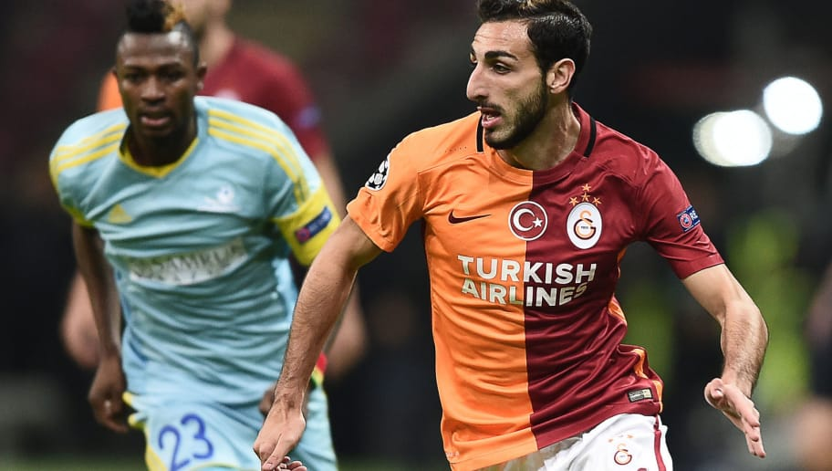 Galatasaray's Spanish midfielder Jose Rodriguez (R) runs with the ball  during the UEFA Champions League Group C football match between Galatasaray AS and FC Astana at the Turk Telekom Arena in Istanbul on December 8, 2015. AFP PHOTO / OZAN KOSE / AFP / OZAN KOSE        (Photo credit should read OZAN KOSE/AFP/Getty Images)