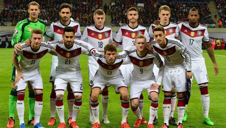 Players of the German national football team pose for a team picture prior to the Euro 2016 Group D qualifying football match between Germany and Georgia in Leipzig, eastern Germany, on October 11, 2015 (front row, L-R) Germany's midfielder Marco Reus, Germany's midfielder Ilkay Guendogan, Germany's midfielder Thomas Mueller, Germany's midfielder Andre Schuerrle and Germany's midfielder Mesut Oezil and (row behind, L-R) Germany's goalkeeper Manuel Neuer, Germany's defender Mats Hummels, Germany's midfielder Toni Kroos, Germany's defender Jonas Hector, Germany's defender Matthias Ginter and Germany's defender Jerome Boateng.   AFP PHOTO / JOHN MACDOUGALL        (Photo credit should read JOHN MACDOUGALL/AFP/Getty Images)