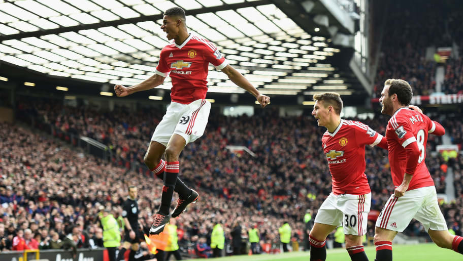MANCHESTER, ENGLAND - FEBRUARY 28:  Marcus Rashford of Manchester United celebrates scoring his opening goal during the Barclays Premier League match between Manchester United and Arsenal at Old Trafford on February 28, 2016 in Manchester, England.  (Photo by Laurence Griffiths/Getty Images)