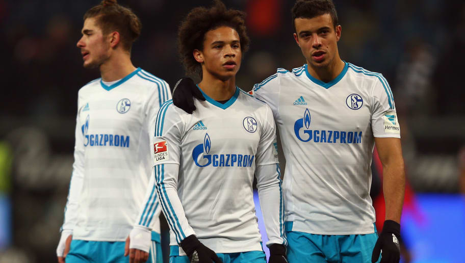 FRANKFURT AM MAIN, GERMANY - FEBRUARY 28:  Leroy Sane (L) and Franco di Santo of Schalke react after the Bundesliga match between Eintracht Frankfurt and FC Schalke 04 at Commerzbank-Arena on February 28, 2016 in Frankfurt am Main, Germany.  (Photo by Alex Grimm/Bongarts/Getty Images)