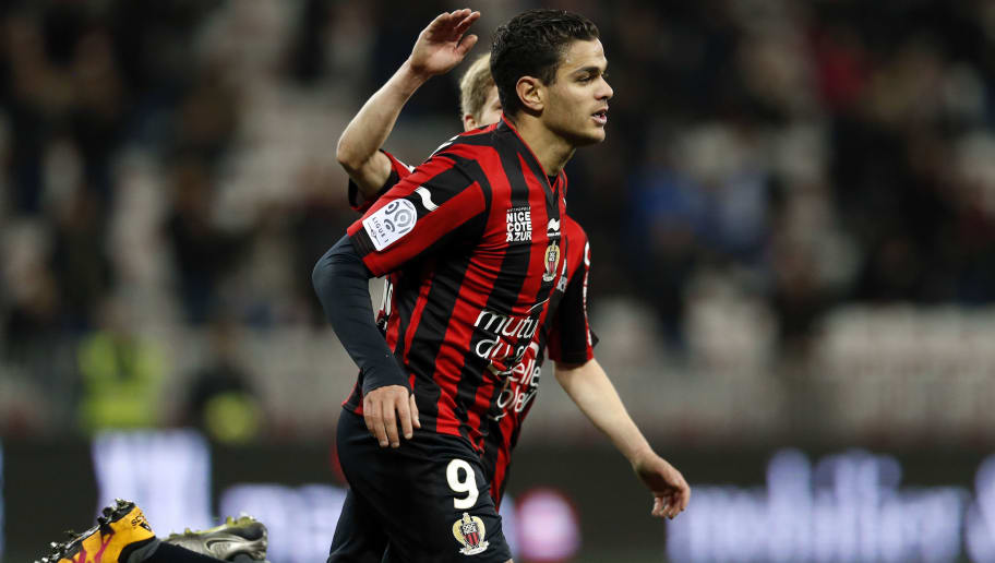 Nice's French forward Hatem Ben Arfa celebrates after scoring a goal during the French L1 football match Nice (OGC Nice) vs Toulouse (TFC) on February 3, 2016 at the 'Allianz Riviera' stadium in Nice, southeastern France.  AFP PHOTO / VALERY HACHE / AFP / VALERY HACHE        (Photo credit should read VALERY HACHE/AFP/Getty Images)
