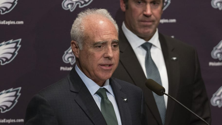 PHILADELPHIA, PA - JANUARY 19: Philadelphia Eagles owner Jeffrey Lurie talks to the media about the hiring of their new head coach Doug Pederson on January 19, 2016 at the NovaCare Complex in Philadelphia, Pennsylvania. (Photo by Mitchell Leff/Getty Images)