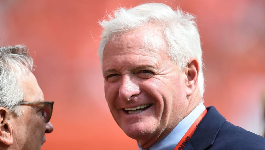 CLEVELAND, OH - SEPTEMBER 27:  Owner of the Cleveland Browns Jimmy Haslam looks on prior to the game against the Oakland Raiders at FirstEnergy Stadium on September 27, 2015 in Cleveland, Ohio.  (Photo by Jason Miller/Getty Images)