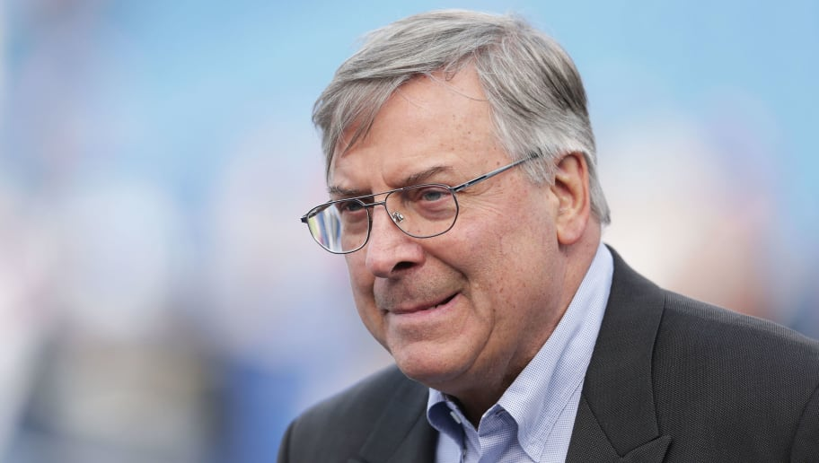 ORCHARD PARK, NY - DECEMBER 06:  Buffalo Bills owner Terry Pegula watches his team warm up before the game against the Houston Texans at Ralph Wilson Stadium on December 6, 2015 in Orchard Park, New York.  (Photo by Brett Carlsen/Getty Images)