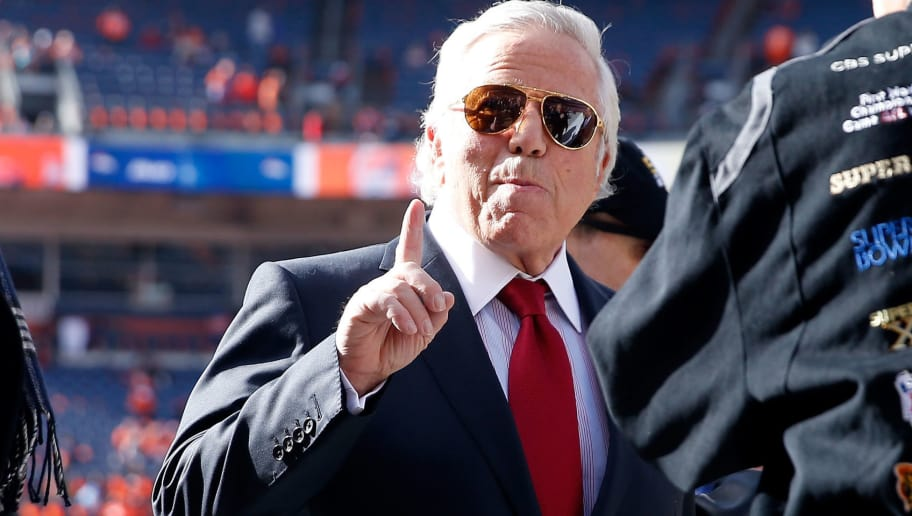 DENVER, CO - JANUARY 24: New England Patriots owner Robert Kraft gestures on the field during warm ups before the AFC Championship game against the Denver Broncos at Sports Authority Field at Mile High on January 24, 2016 in Denver, Colorado.  (Photo by Christian Petersen/Getty Images)