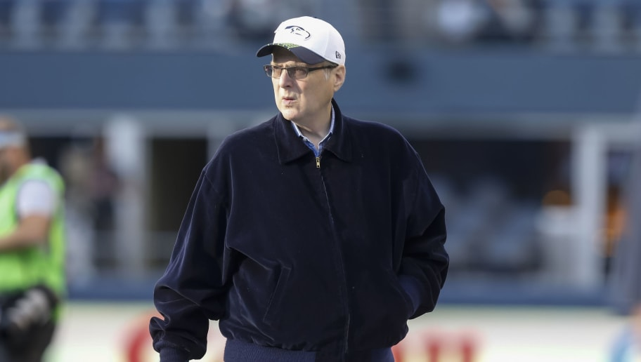 SEATTLE, WA - OCTOBER 5: Seattle Seahawks owner Paul Allen walks across fthe field before a football game between the Detroit Lions and the Seattle Seahawks at CenturyLink Field on October 5, 2015 in Seattle, Washington. The Seahawks won the game 13-10. (Photo by Stephen Brashear/Getty Images)