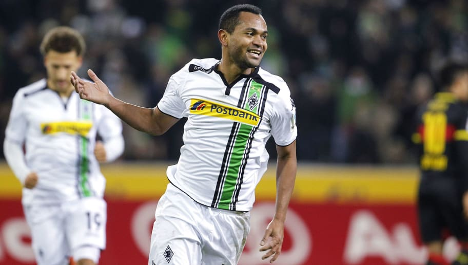 MOENCHENGLADBACH, GERMANY - MARCH 02:  Raffael of Moenchengladbach celebrates scoring the 2:0 during the Bundesliga match between Borussia Moenchengladbach and VfB Stuttgart at Borussia-Park on March 2, 2016 in Moenchengladbach, Germany.  (Photo by Mika Volkmann/Bongarts/Getty Images)