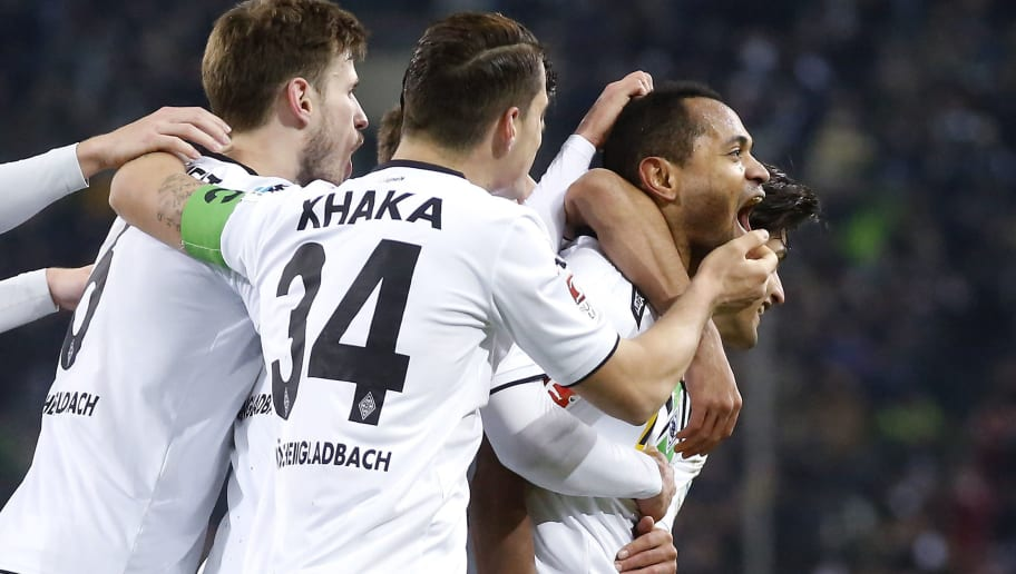 MOENCHENGLADBACH, GERMANY - MARCH 02:  Raffael of Moenchengladbach (R) celebrates scoring his team's second goal (2:0) with Granit Xhaka of Moenchengladbach #34 during the Bundesliga match between Borussia Moenchengladbach and VfB Stuttgart at Borussia-Park on March 2, 2016 in Moenchengladbach, Germany.  (Photo by Mika Volkmann/Bongarts/Getty Images)