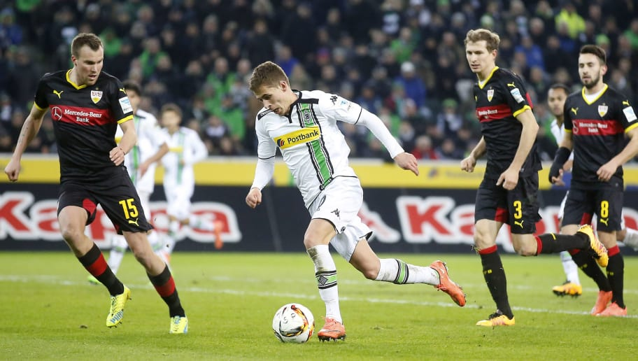 MOENCHENGLADBACH, GERMANY - MARCH 02:  Thorgan Hazard of Moenchengladbach runs with the ball during the Bundesliga match between Borussia Moenchengladbach and VfB Stuttgart at Borussia-Park on March 2, 2016 in Moenchengladbach, Germany.  (Photo by Mika Volkmann/Bongarts/Getty Images)