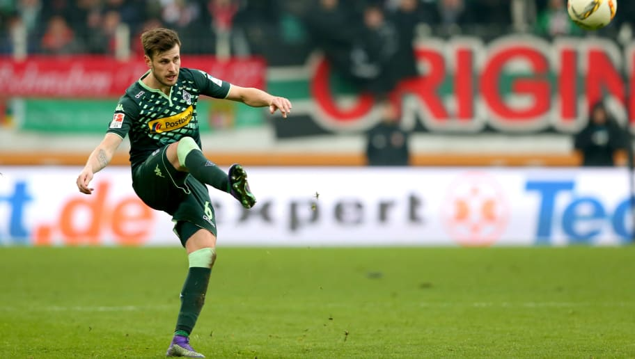 AUGSBURG, GERMANY - FEBRUARY 28:  Harvard Nordtveit of Moenchengladbach runs with the ball  during the Bundesliga match between FC Augsburg and Borussia Moenchengladbach at WWK Arena on February 28, 2016 in Augsburg, Germany.  (Photo by Alexander Hassenstein/Bongarts/Getty Images)