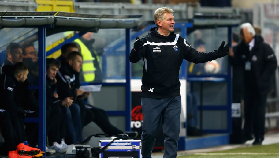 PADERBORN, GERMANY - FEBRUARY 26:  Head coach Stefan Effenberg of Paderborn reacts during the 2. Bundesliga match between SC Paderborn and RB Leipzig at Benteler Arena on February 26, 2016 in Paderborn, Germany.  (Photo by Christof Koepsel/Bongarts/Getty Images)