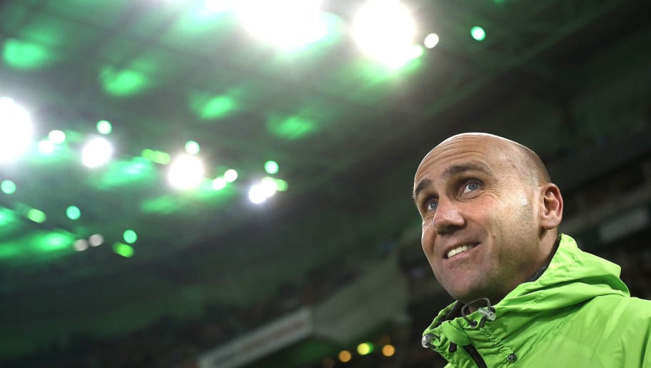 MOENCHENGLADBACH, GERMANY - MARCH 02:  Head coach Andre Schubert of Moenchengladbach smiles prior the Bundesliga match between Borussia Moenchengladbach and VfB Stuttgart at Borussia-Park on March 2, 2016 in Moenchengladbach, Germany.  (Photo by Mika Volkmann/Bongarts/Getty Images)