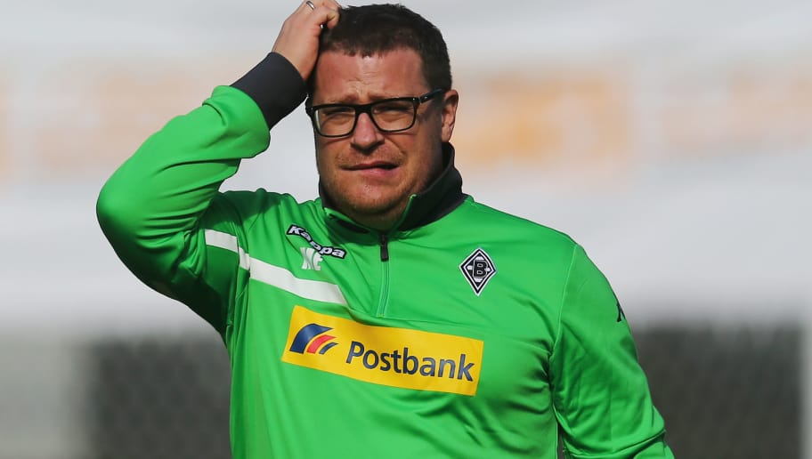 BELEK, TURKEY - JANUARY 10: Manager Max Eberl reacts during a Borussia Moenchengladbach training session on day 5 of the Bundesliga Belek training camps at Maxx Royal Golf Resort on January 9, 2016 in Belek, Turkey.  (Photo by Alex Grimm/Bongarts/Getty Images)
