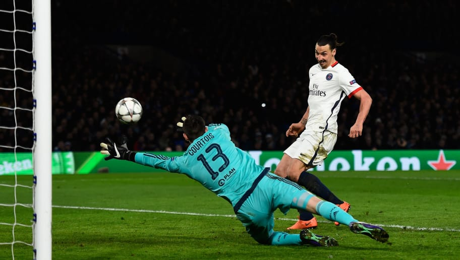 LONDON, ENGLAND - MARCH 09:  Zlatan Ibrahimovic of PSG scores his team's second goal past goalkeeper Thibaut Courtois of Chelsea during the UEFA Champions League round of 16, second leg match between Chelsea and Paris Saint Germain at Stamford Bridge on March 9, 2016 in London, United Kingdom.  (Photo by Mike Hewitt/Getty Images)