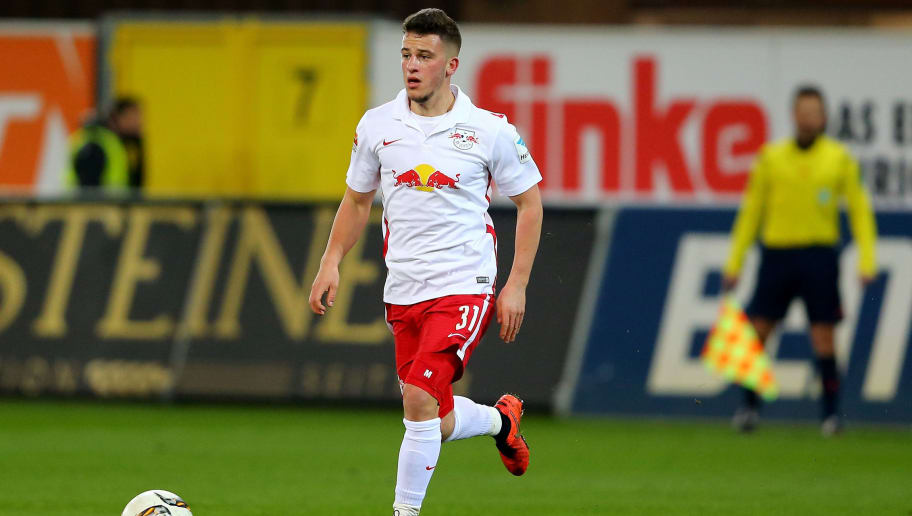 PADERBORN, GERMANY - FEBRUARY 26: Diego Demme of Leipzig runs with the ball during the 2. Bundesliga match between SC Paderborn and RB Leipzig at Benteler Arena on February 26, 2016 in Paderborn, Germany.  (Photo by Christof Koepsel/Bongarts/Getty Images)