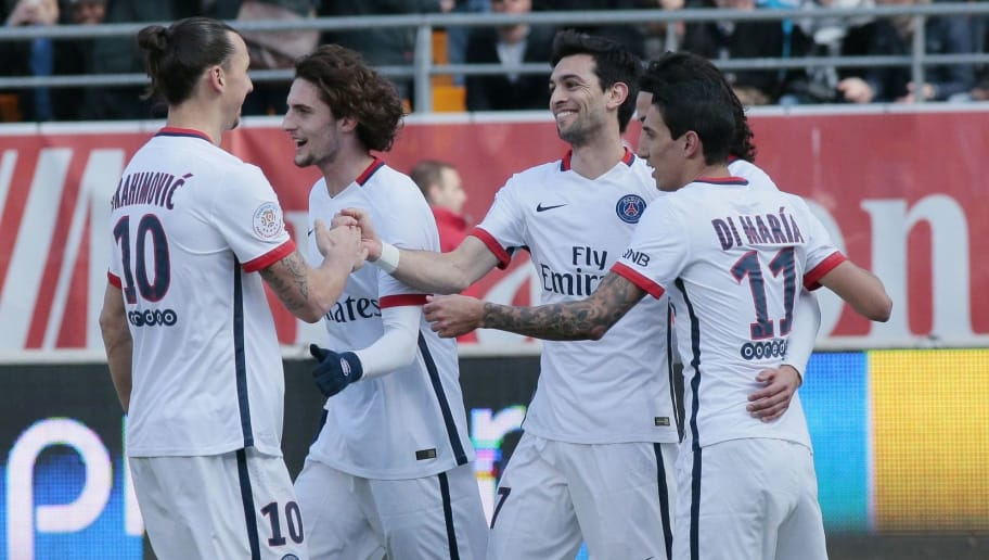 Paris Saint-Germain's Swedish forward Zlatan Ibrahimovic (L), French midfielder Adrien Rabiot (2ndL), Argentinian midfielder Javier Pastore (3rdL) and Argentinian forward Angel Di Maria (R) celebrate after scoring a goal during the French Ligue 1 football match between Troyes and Paris Saint-Germain on March 13, 2016 at the Aube Stadium in Troyes. / AFP / JACQUES DEMARTHON        (Photo credit should read JACQUES DEMARTHON/AFP/Getty Images)