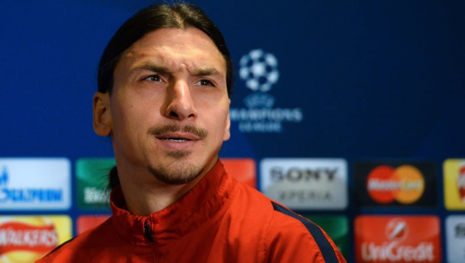 Paris Saint-Germain's Swedish striker Zlatan Ibrahimovic gestures during a press conference at Stamford Bridge in London on March 8, 2016 ahead of their UEFA Champions League, round of 16 second leg football match against Chelsea.    / AFP / GLYN KIRK        (Photo credit should read GLYN KIRK/AFP/Getty Images)
