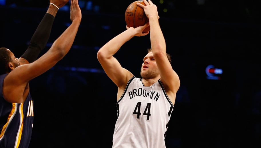 NEW YORK, NY - FEBRUARY 03:  Bojan Bogdanovic #44 of the Brooklyn Nets in action against the Indiana Pacers during their game at the Barclays Center on February 3, 2016 in New York City.  NOTE TO USER: User expressly acknowledges and agrees that, by downloading and/or using this Photograph, user is consenting to the terms and conditions of the Getty Images License Agreement.  (Photo by Al Bello/Getty Images)