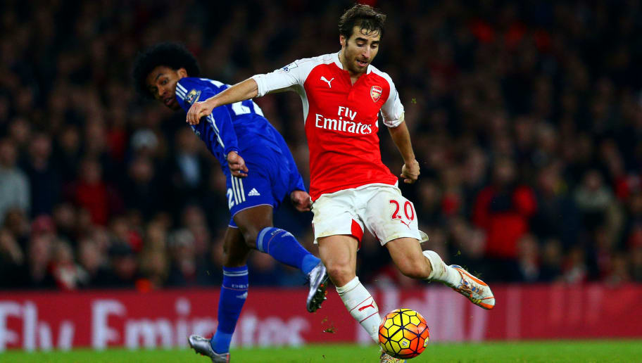 LONDON, ENGLAND - JANUARY 24:  Mathieu Flamini of Arsenal battles for the ball with Willian of Chelsea during the Barclays Premier League match between Arsenal and Chelsea at Emirates Stadium on January 24, 2016 in London, England.  (Photo by Clive Mason/Getty Images)