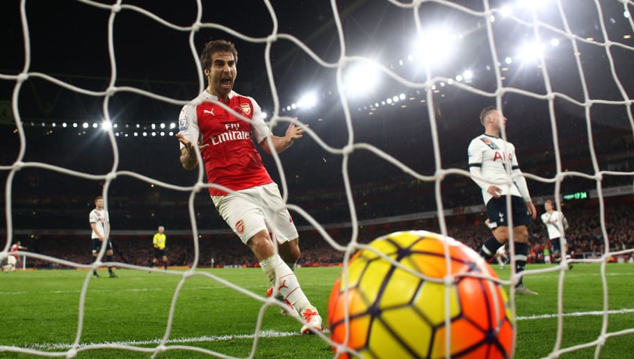 LONDON, ENGLAND - NOVEMBER 08:  Mathieu Flamini of Arsenal celebrates his team's second goal scored by Kieran Gibbs of Arsenal (not pictured) during the Barclays Premier League match between Arsenal and Tottenham Hotspur at the Emirates Stadium on November 8, 2015 in London, England.  (Photo by Julian Finney/Getty Images)