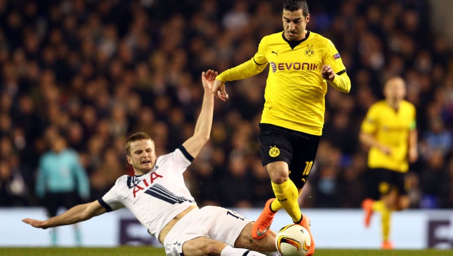LONDON, ENGLAND - MARCH 17:  Henrikh Mkhitaryan of Borussia Dortmund evades Eric Dier of Tottenham Hotspur during the UEFA Europa League round of 16, second leg match between Tottenham Hotspur and Borussia Dortmund at White Hart Lane on March 17, 2016 in London, England.  (Photo by Paul Gilham/Getty Images)