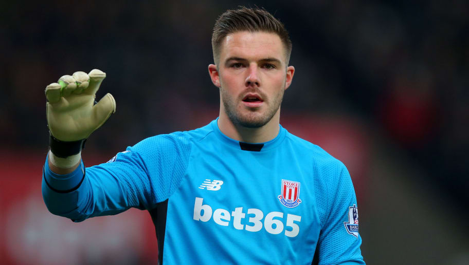 STOKE-ON-TRENT, ENGLAND - FEBRUARY 27: Jack Butland of Stoke City during the Barclays Premier League match between Stoke City and Aston Villa at the Britannia Stadium on February 27, 2016 in Stoke-on-Trent, England. (Photo by Dave Thompson/Getty Images)