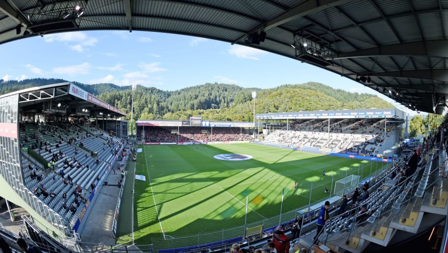FREIBURG, GERMANY - SEPTEMBER 18:(EDITORS NOTE: A fisheye lens was used creating this photo) A general view of the stadium prior to the Second Bundesliga match between SC Freiburg and Arminia Bielefeld at Schwarzwald-Stadion on September 18, 2015 in Freiburg im Breisgau, Germany.  (Photo by Thomas Starke/Bongarts/Getty Images)