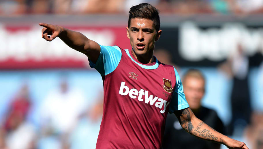 LONDON, ENGLAND - AUGUST 02:  Manuel Lanzini of West Ham United  during the Betway Cup match between West Ham Utd and SV Werder Bremen at Boleyn Ground on August 2, 2015 in London, England.  (Photo by Tony Marshall/Getty Images)