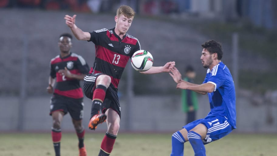 RAMAT GAN, ISRAEL - DECEMBER 15:  Jannik Mause of Germany challenges Roy Ronen of Israel during the Under 18 International Friendly match between Israel and Germany on December 15, 2015 in Ramat Gan, Israel.  (Photo by Lior Mizrahi/Bongarts/Getty Images)