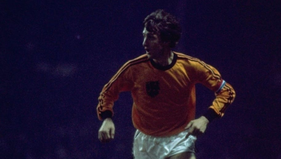 9 Feb 1977:  Johan Cruyff of Holland in action during a match against England at Wembley Stadium in London. Holland won the match 2-0. \ Mandatory Credit: Tony  Duffy/Allsport