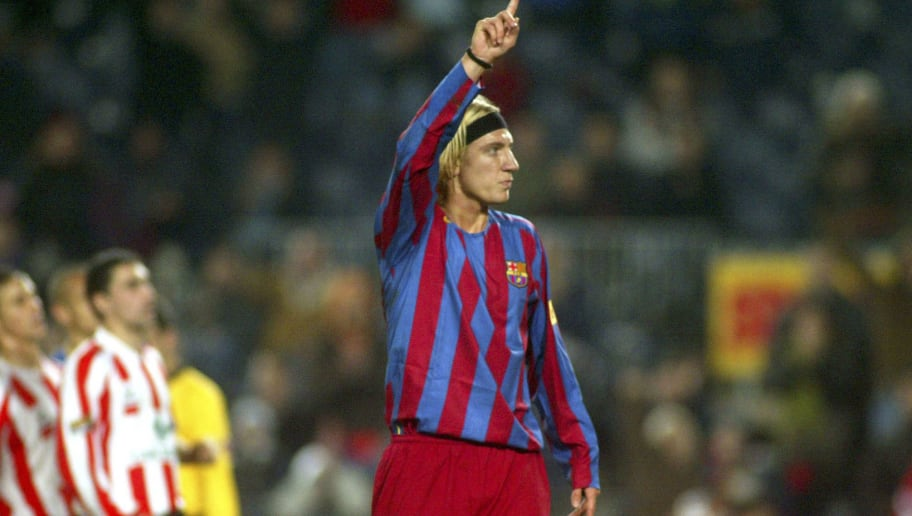 BARCELONA, SPAIN - JANUARY 11:  Maxi Lopez of FC Barcelona celebrates his goal during the Copa del Rey, second round, first leg match between FC Barcelona and Zamora at the Camp Nou stadium on January 11, 2006 in Barcelona, Spain.  (Photo by Luis Bagu/Getty Images)