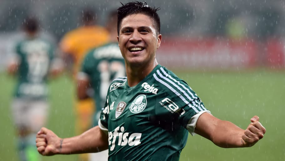 ddbdac2327 Cristaldo, of Brazils Palmeiras, celebrates his goal against Argentina's  Rosario Central, during their