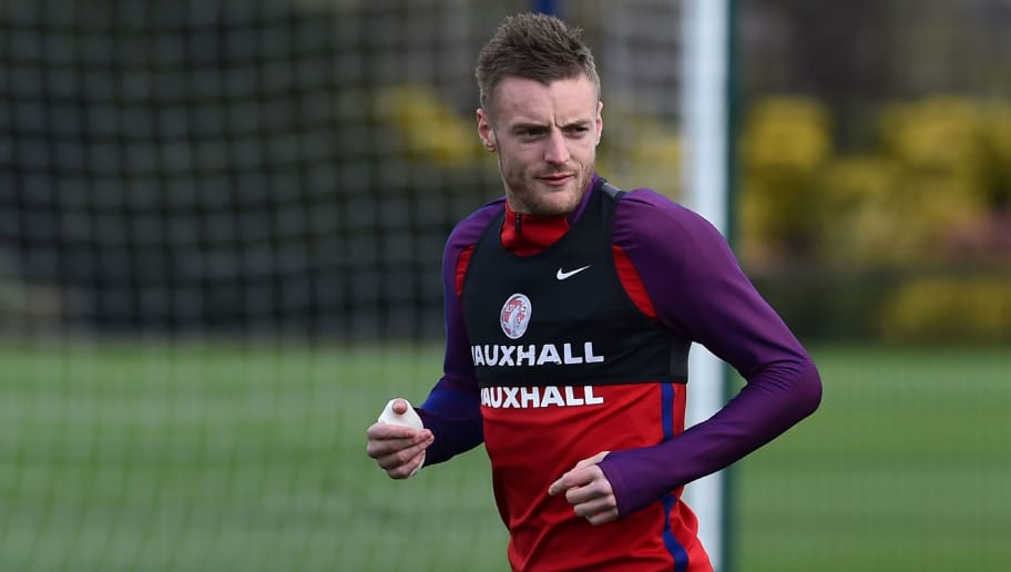 England's striker Jamie Vardy takes part in an England training session at the Tottenham Hotspur training ground in Enfield, north London, on March 28, 2016, ahead of their international friendly football match against Netherlands.  / AFP / BEN STANSALL / NOT FOR MARKETING OR ADVERTISING USE / RESTRICTED TO EDITORIAL USE        (Photo credit should read BEN STANSALL/AFP/Getty Images)