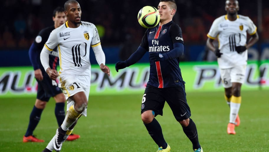 Paris Saint-Germain's Italian midfielder Marco Verratti (R) controls the ball  next to Lille's French defender Djibril Sidibe (L)  during the French L1 football match between Paris Saint-Germain (PSG) and Lille (LOSC) at the Parc des Princes stadium in Paris, on February 13, 2016.  AFP PHOTO / MIGUEL MEDINA / AFP / MIGUEL MEDINA        (Photo credit should read MIGUEL MEDINA/AFP/Getty Images)