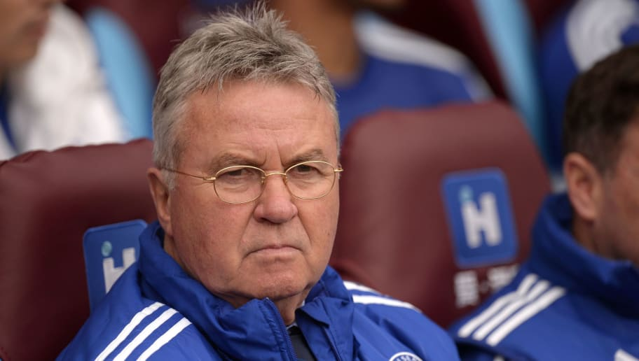 Chelsea's Dutch interim manager Guus Hiddink looks on during the English Premier League football match between Aston Villa and Chelsea at Villa Park in Birmingham, central England on April 2, 2016. / AFP / OLI SCARFF / RESTRICTED TO EDITORIAL USE. No use with unauthorized audio, video, data, fixture lists, club/league logos or 'live' services. Online in-match use limited to 75 images, no video emulation. No use in betting, games or single club/league/player publications.  /         (Photo credit should read OLI SCARFF/AFP/Getty Images)