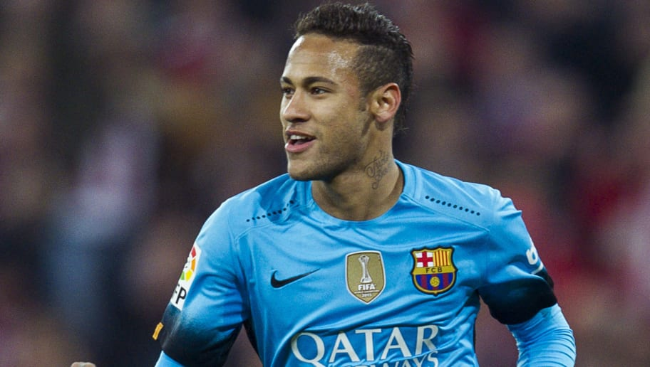BILBAO, SPAIN - JANUARY 20:  Neymar of FC Barcelola celebrates after scoring his team's second goal during the Copa del Rey Quarter Final First Leg match between Athletic Club and FC Barcelola at San Mames Stadium on January 20, 2016 in Bilbao, Spain.  (Photo by Juan Manuel Serrano Arce/Getty Images)