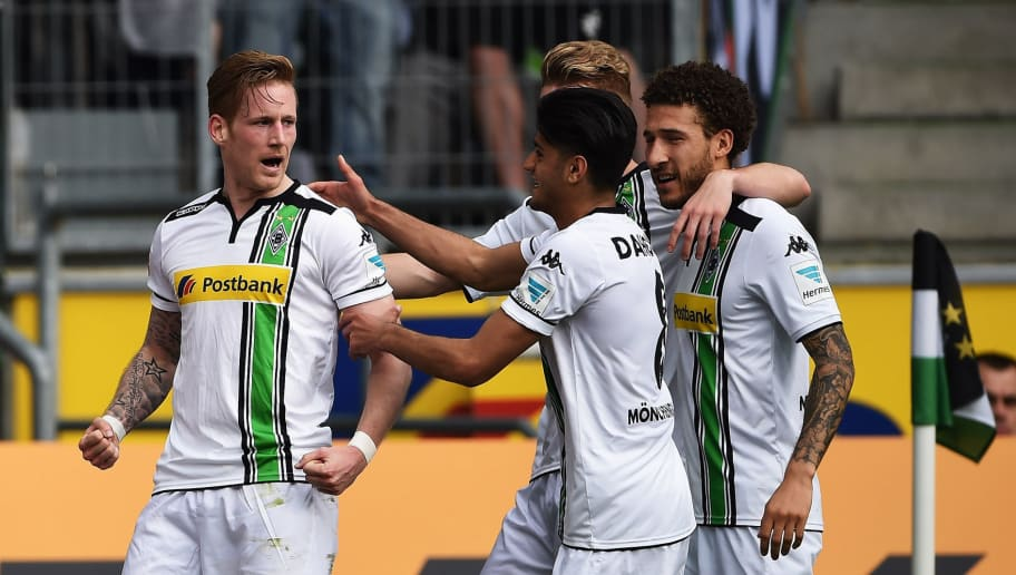 MOENCHENGLADBACH, GERMANY - APRIL 03:  Andre Hahn of Gladbach celebrates scoring his goal during the Bundesliga match between Borussia Moenchengladbach and Hertha BSC at Borussia-Park on April 3, 2016 in Moenchengladbach, Germany.  (Photo by Stuart Franklin/Bongarts/Getty Images)