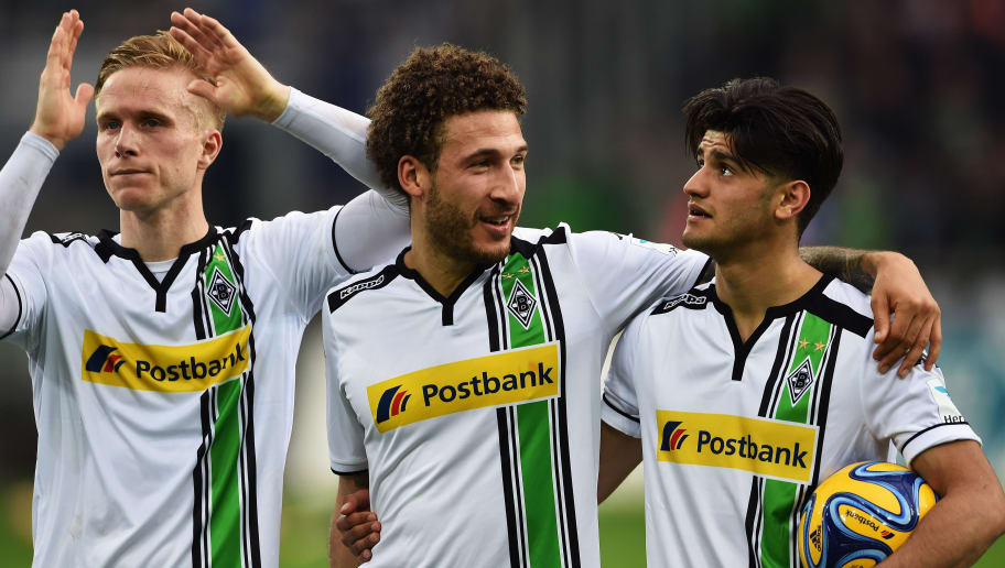 MOENCHENGLADBACH, GERMANY - APRIL 03: Oscar Wendt, Fabian Johnson and Mahmoud Dahoud of Gladbach at the end of the Bundesliga match between Borussia Moenchengladbach and Hertha BSC at Borussia-Park on April 3, 2016 in Moenchengladbach, Germany.  (Photo by Stuart Franklin/Bongarts/Getty Images)