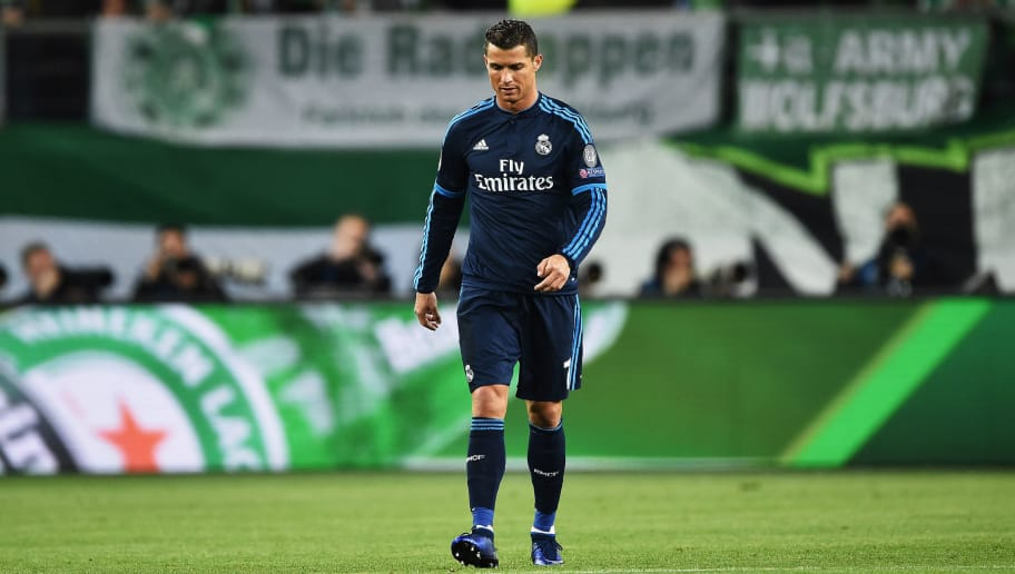 WOLFSBURG, GERMANY - APRIL 06:  Ronaldo of Real Madrid looks dejected during the UEFA Champions League Quarter Final First Leg match between VfL Wolfsburg and Real Madrid at Volkswagen Arena on April 6, 2016 in Wolfsburg, Germany.  (Photo by Stuart Franklin/Bongarts/Getty Images)