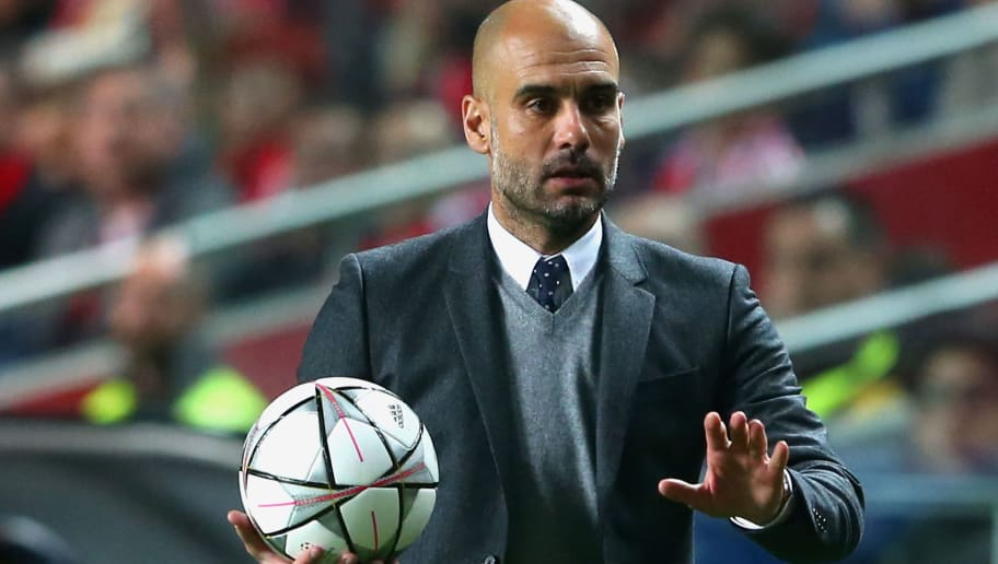 LISBON, PORTUGAL - APRIL 13:  Josep Guardiola, head coach of Muenchen reacts  during the UEFA Champions League quarter final second leg match between SL Benfica and FC Bayern Muenchen at Estadio da Luz on April 13, 2016 in Lisbon, Portugal.  (Photo by Alexander Hassenstein/Bongarts/Getty Images)