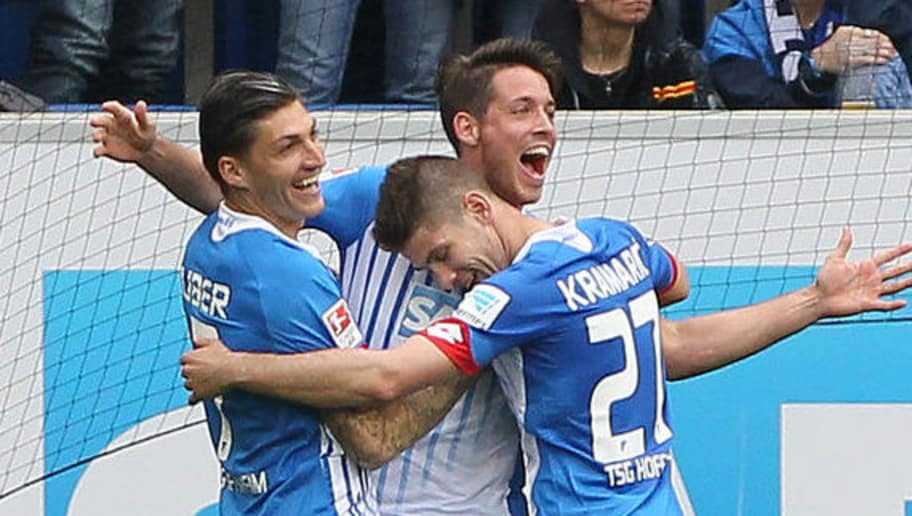 Hoffenheim's forward Mark Uth (C) celebrates scoring the 2-1 goal with his team-mates during the German first division Bundesliga football match Hoffenheim vs Hertha Berlin in Sinsheim, southern Germany, on April 16, 2016. / AFP / DANIEL ROLAND / RESTRICTIONS: DURING MATCH TIME: DFL RULES TO LIMIT THE ONLINE USAGE TO 15 PICTURES PER MATCH AND FORBID IMAGE SEQUENCES TO SIMULATE VIDEO. == RESTRICTED TO EDITORIAL USE == FOR FURTHER QUERIES PLEASE CONTACT DFL DIRECTLY AT + 49 69 650050         (Photo credit should read DANIEL ROLAND/AFP/Getty Images)